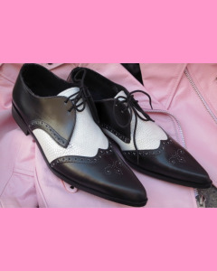 Black leather and white lizzard Brogue Winkle-Pickers