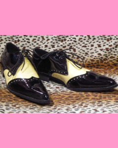 Black and yellow patent leather Brogue Winkle-Pickers