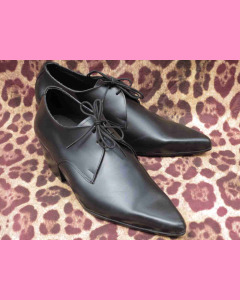 Black leather Cuban Heel Winkle-Pickers